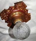 VTG DECO POLICHROME CAST METAL FLUSH MOUNT CHANDELIER CEILING FIXTURE 1930'S