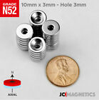 10 Mm X 3 Mm 38in X 18in Hole 3mm N52 Countersunk Ring Rare Earth Magnet