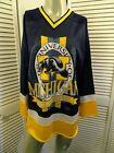 VINTAGE UofM Michigan Wolverines Hockey Jersey Name of the Game Brazos Large L
