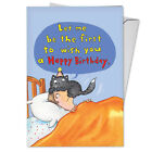 C3791HBDG Funny Single Birthday Greeting Card Cat on Head with Envelope