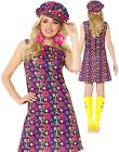 Ladies 60s Psychedelic Hippie Costume Adults 70s Hippy Fancy Dress + Hat Outfit