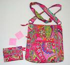 NEW VERA BRADLEY Pink Swirls SET Hipster Cross Body Purse Matching Euro Wallet