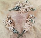 A43 Vintage White Ivory Flocked Flowers Millinery Costume Hats Chic Shabby Lot