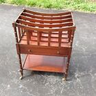 Antique Vintage Mahogany Magazine Rack Rolling File Cart with Brass Casters