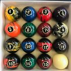 NEW BLACK Swirl Pool Table Billiard Ball Set 2 1 4 Reg Size