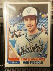 Rob Picciolo Brewers 1982 Topps Traded Blank Back Baseball Card