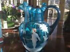 Mary Gregory Pitcher, Fluted, Blue, Hand-painted