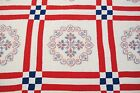 Vntage Red White Blue American Flag Stars  Hearts Hand Sewn Cross Stitch QUILT