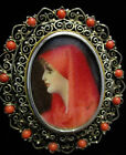 Vintage RARE hand painted brooch Lady in Red Said to be Saint Fabiola Signed