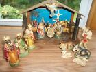 VINTAGE LIGHTED  MUSICAL NATIVITY SET  PAPER MACHE  13 PIECES  JAPAN