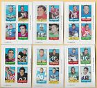 1969 TOPPS FOOTBALL 6 all different 4-IN-1 Stamp Cards