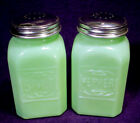 PEPPER SHAKER Set JADE Green GLASS Canister JAR Jade-ite