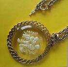 Vintage CROWN TRIFARI CLEAR LUCITE INTAGLIO In the Garden PNDANT GOLD TONE NECKL