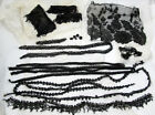 Vintage Lot of Beaded Black Jet Mourning Lace Trims Pieces Fringes Net Items