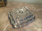 Lovely Antique  Embossed Silver Plate Casket Jewel Box
