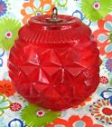 vtg RED PINEAPPLE GLASS GLOBE replacement for HANGING SWAG LAMP 8 w 3 opening
