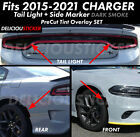 2015-2018 DODGE CHARGER Rear Tail Light Side Marker SMOKE Overlay PreCut SET KIT