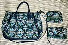 Vera Bradly 3pc in Ink Blue Trapeze Tote/Turnlock Wallet/Cosmetic Case bundle