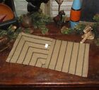 PRIMITIVE Antique Vtg Style FARMHOUSE Black Stripe COVERLET RUNNER RETIRED IBSR
