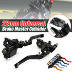 2x Universal Motorcycle 7/8'' 22mm Brake Clutch Master Cylinder Reservoir Levers