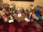 Vintage Handmade 1960 70s Large Ceramic Nativity Set 15 Piece