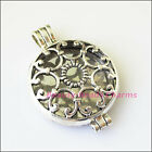 1Pc Antiqued Silver Tone Round Flower Picture Frame Charms Pendants 33x46mm