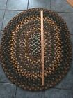 Vintage Handmade Braided Wool Rag Rug Oval Farmhouse Country Area Carpet USA 70s