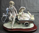 RARE LLADRO 5958 COUNTRY RIDE BOY & GIRL BICYCLE WAGON W/FLOWERS FIGURINE POLOPE
