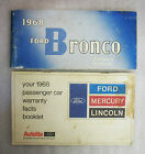 1968 Ford Bronco Owners Manual and Warranty Booklet