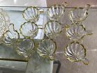 10 Vintage Gold Scalloped Rim Thick Glass Fan Design Fruit Punch Bowl Cups