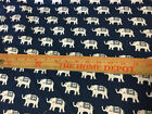 Screen Printed Cotton Fabric Gray White Whales Navy Blue Elephants Teal Giraffes