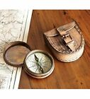 Vintage Style Road Not Taken Poem Engraved Brass Glass Compass With Leather Case