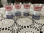 Set of 4 Vintage Anchor Hocking Betsy Ross Tumblers, Red White and Blue Striped