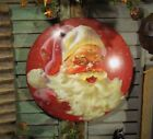 Primitive Antique Vtg Style Christmas Santa Claus Dome Tin Metal Wall Sign
