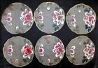 Set of 6 Antique Hand Painted Silk Doilies - Pink Roses