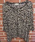Womens JONES NEW YORK SPORT Size Large L Animal print Top 3 4 Sleeves
