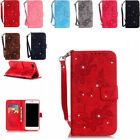 For Samsung Galaxy S6 S7 Edge Leather Flip Walle Shcokproof Bling Case Cover