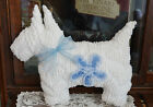 Vintage chenille bedspread Westie Scottie Dog Pillow white / blue flower