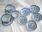 Lot of 10 Antique Blue White Chinese Export Canton China Plates Cups