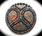 Antique Button ~  Large Victorian Era Black Glass with Paisley and Colorful Over