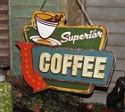 New Retro Chic Vintage Diner SUPERIOR COFFEE SIGN Rustic Tin Wall Hanging