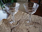 2 Federal Glass Leaf Cut Wine Cocktail Glasses Ribbed Stem Gold Rim 145R 4 3/8