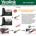Yealink SIP-T27G 2PACK IPPhone PoE with 2PACK Telephone Cord Untangler