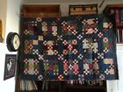 Vintage Mid to Late 1800's Indigo Blue Nine Square Patchwork Quilt - horseshoes