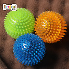 Pet Dog Puppy Rubber Gum Spikes Squeaky Chew Ball Teeth Clean Squeaker Fetch Toy