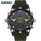 SMAEL Men Watches Military Three Time Display Military Watches IP Alloy Big