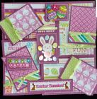 Premade Scrapbook Page Embellishment Kit SEWN 12 pieces Easter Bunnies