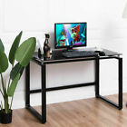 Computer Desk Glass Top Metal Frame PC Laptop Table Study Writing Workstation
