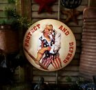 Primitive Vtg Style Retro American Star Uncle Sam Round Dome Metal Tin Sign PD