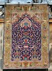 Semi Antique Very Fine Persian Tree of Life Tabriz Prayer Rug w/ Animals 3'4x4'8